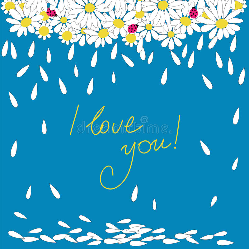 Greeting card with Happy Valentine`s with daisies. Greeting card with Happy Valentine`s with a daisies stock illustration