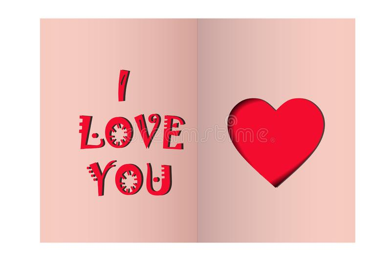 Greeting card Happy Valentine`s Day. heart and the inscription I love you on a pink background. vector. Illustration vector illustration