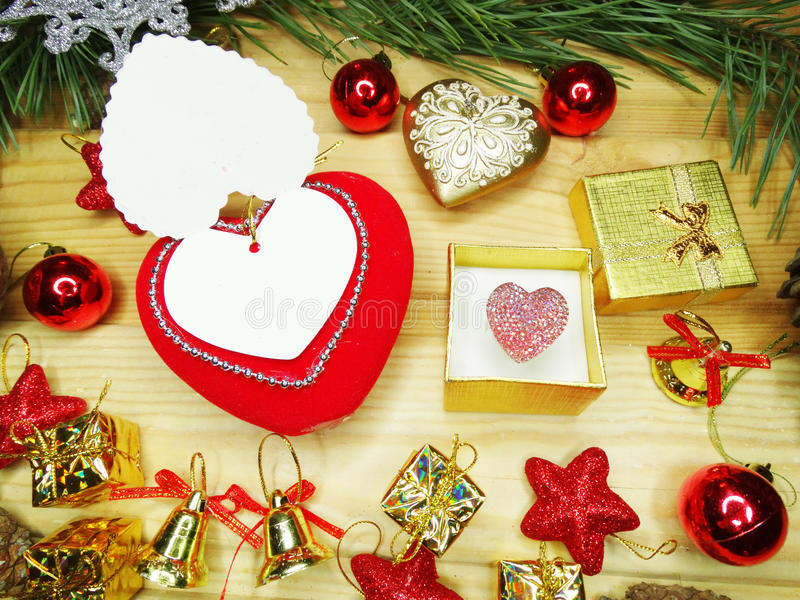 Download Greeting Card Heart Composition On Wooden Background Stock Photo - Image: 83700452