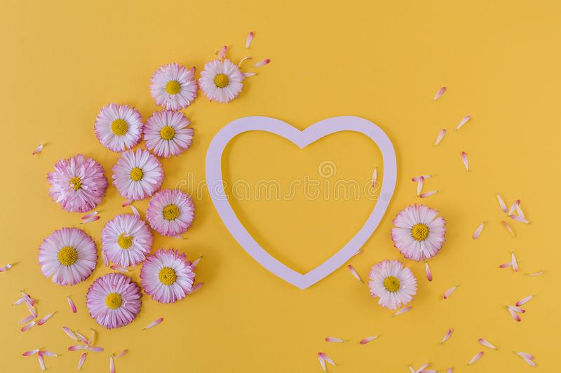 Greeting card with heart and daisies on an orange background. Top view. Flat lay. stock photo