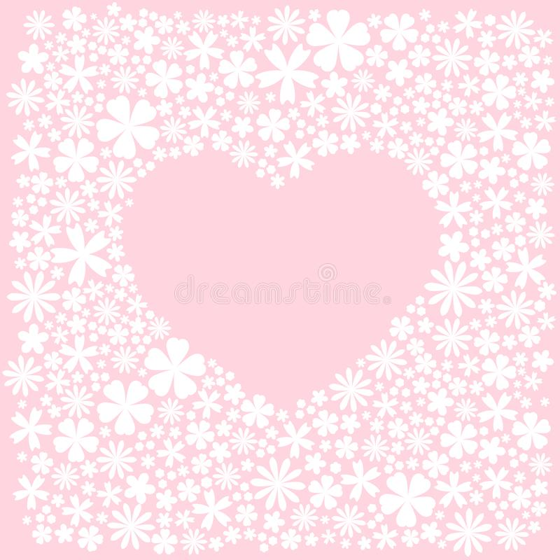 Greeting card with heat of white flat flowers. Pink background. Vector wedding illustration vector illustration