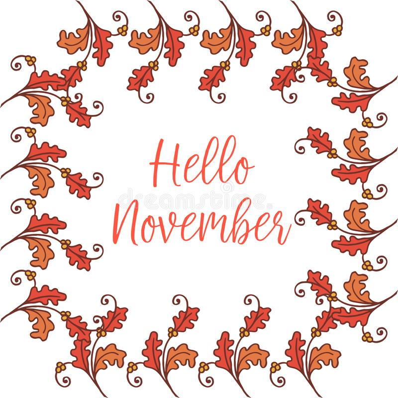 Greeting card of hello november background, with texture of vintage autumn leaf frame. Vector vector illustration