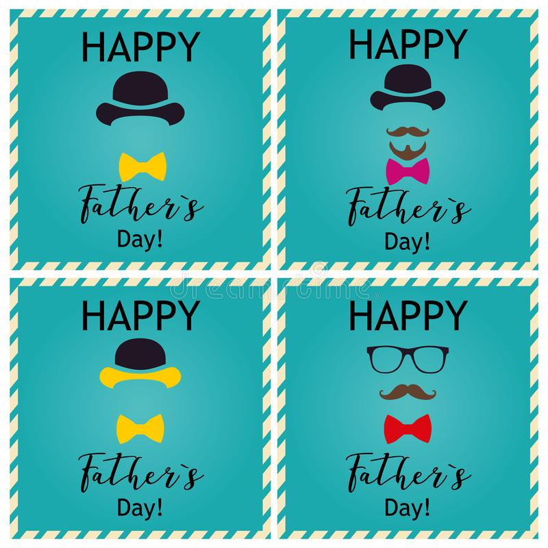 Father`s day greeting. Set of greeting cards. Vector Illustrations/ stock photography