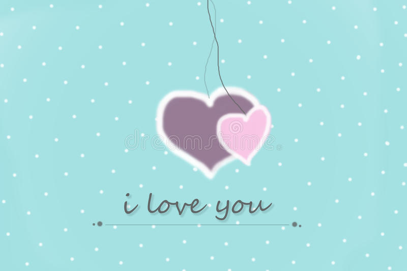 greeting card with i love you sign on a blue background with white dots vector illustration