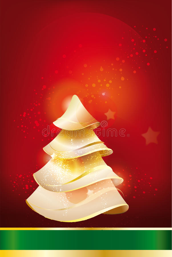 Download Greeting Card With The Image Of A Christmas Tree Stock Illustration - Illustration of background, glow: 28111508