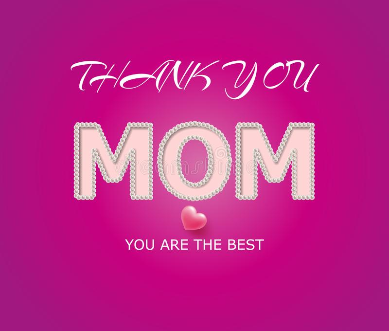 Greeting card with the inscription thank you mom, decorated with beads and heart. vector illustration