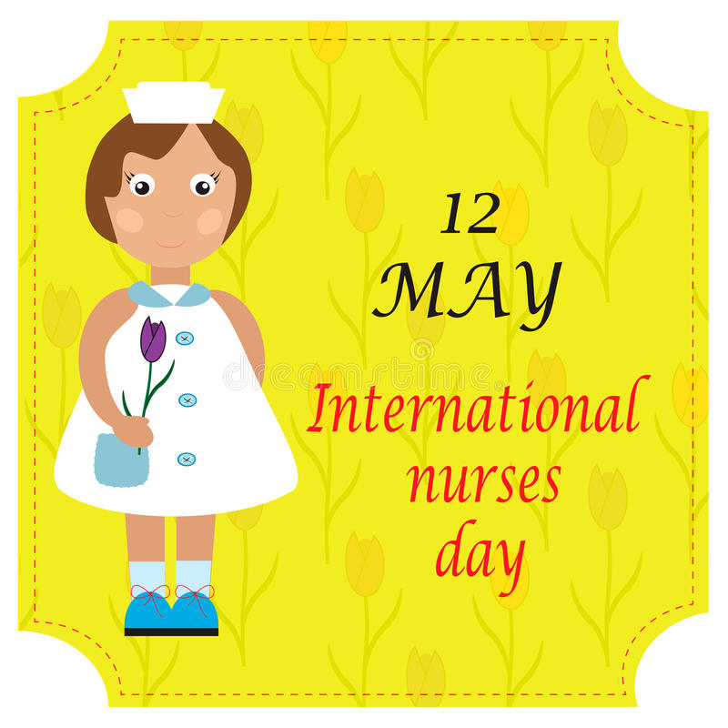 Greeting card for international nurse's day. stock illustration