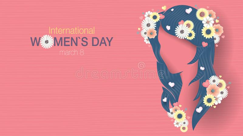 Greeting Card of INTERNATIONAL WOMEN S DAY. Silhouette of woman head with long blue hair with hearts inserted between the hair royalty free illustration