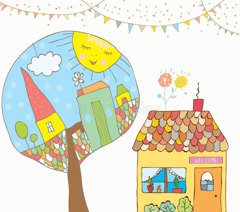 Greeting card or invitation with house, trees, bunting flags for kids. Funny background stock illustration