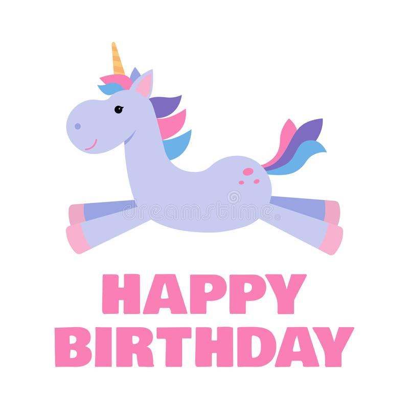 Greeting card for a kids birthday with a cute unicorn. royalty free illustration
