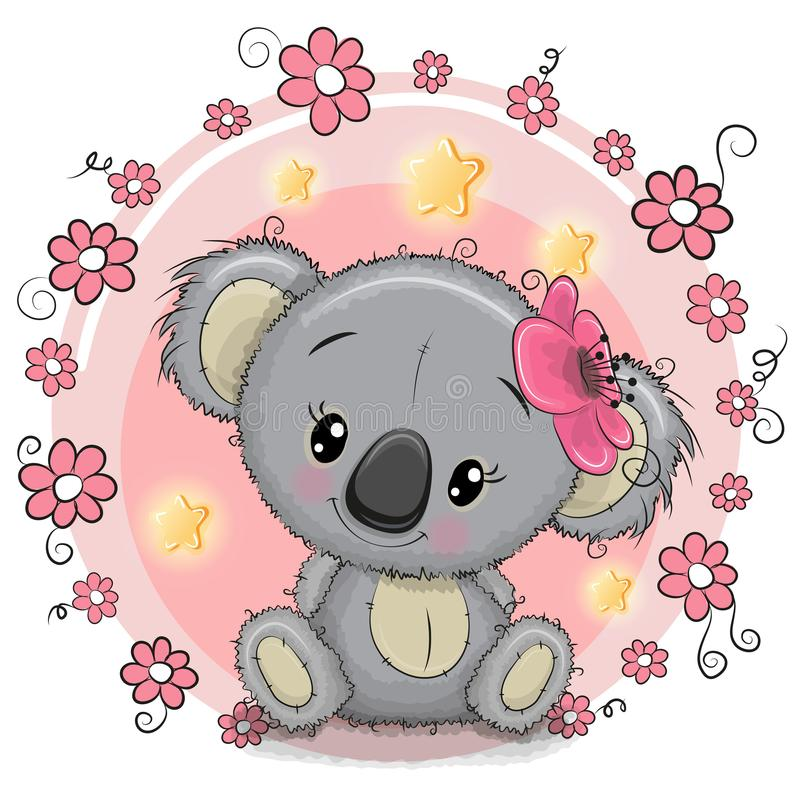 Free Greeting Card Koala With Flowers Stock Photography - 101930742
