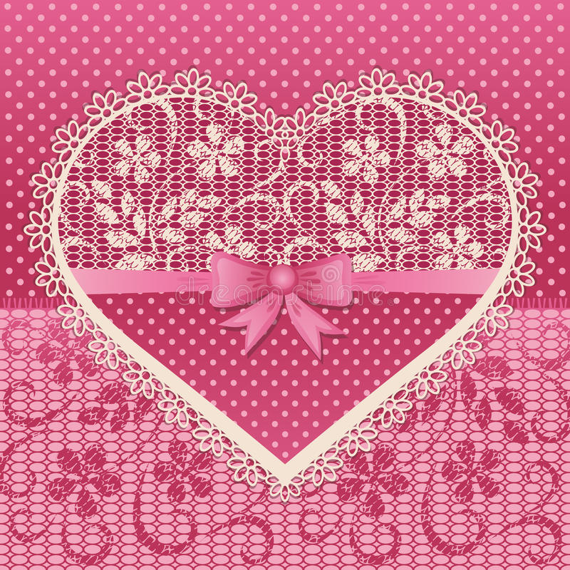 Greeting card with lace heart royalty free illustration