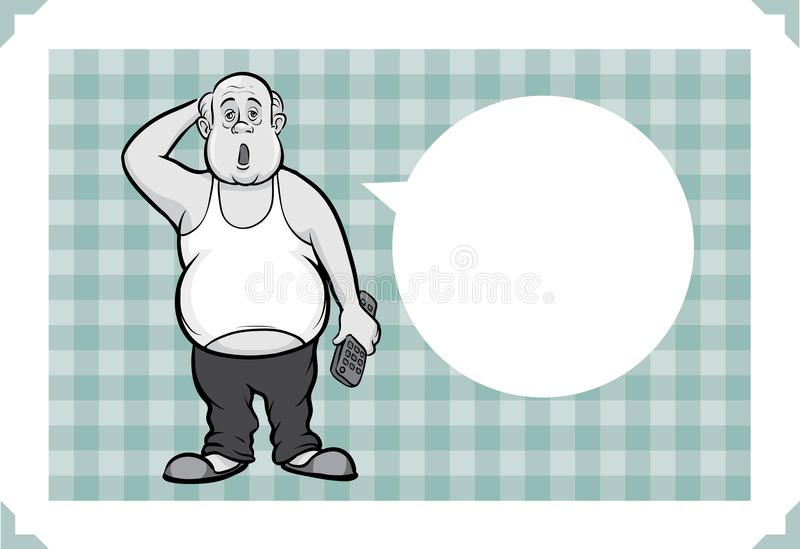 Greeting card with lazy fat man. Sarcastic meme layered vector illustration. Personalize it with your own humorous message royalty free illustration