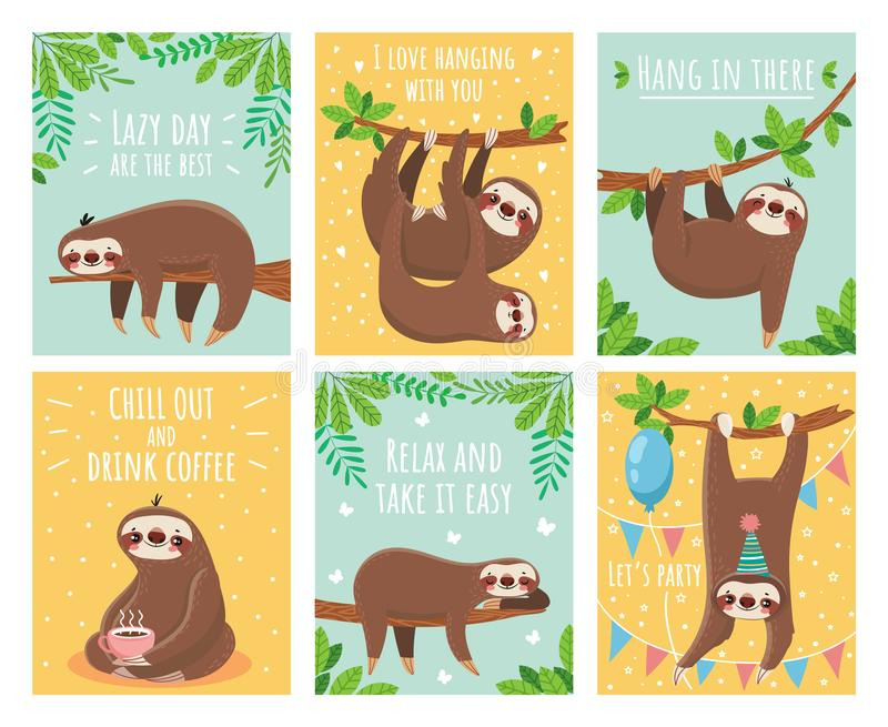 Greeting card with lazy sloth. Cartoon cute sloths cards with motivation and congratulation text. Slumber animals. Greeting card with lazy sloth. Cartoon cute royalty free illustration