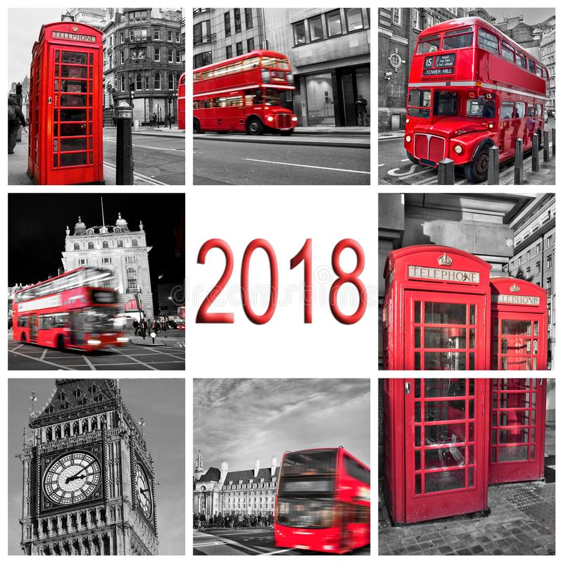 2018, London travel photos collage, black and white and red selective color royalty free stock photo