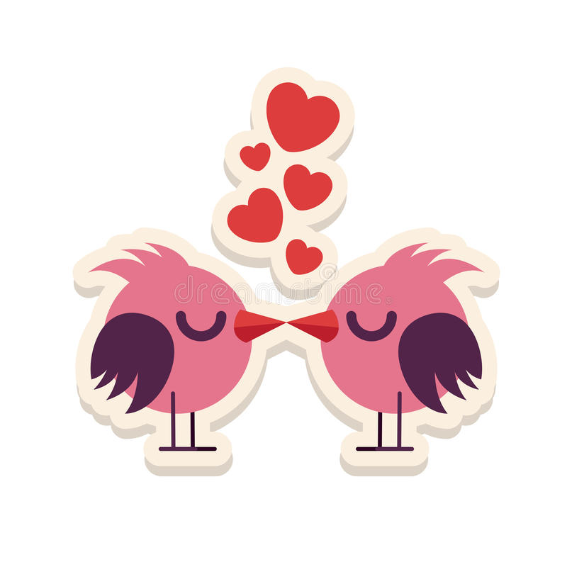 Greeting card love birds kissing happy Valentine Day vector illustration. Pattern design. Flyer or invitation.  royalty free illustration