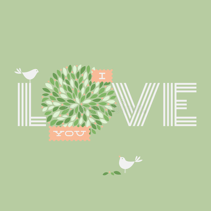 Greeting card with love lettering and two pretty birds. Vector i royalty free illustration