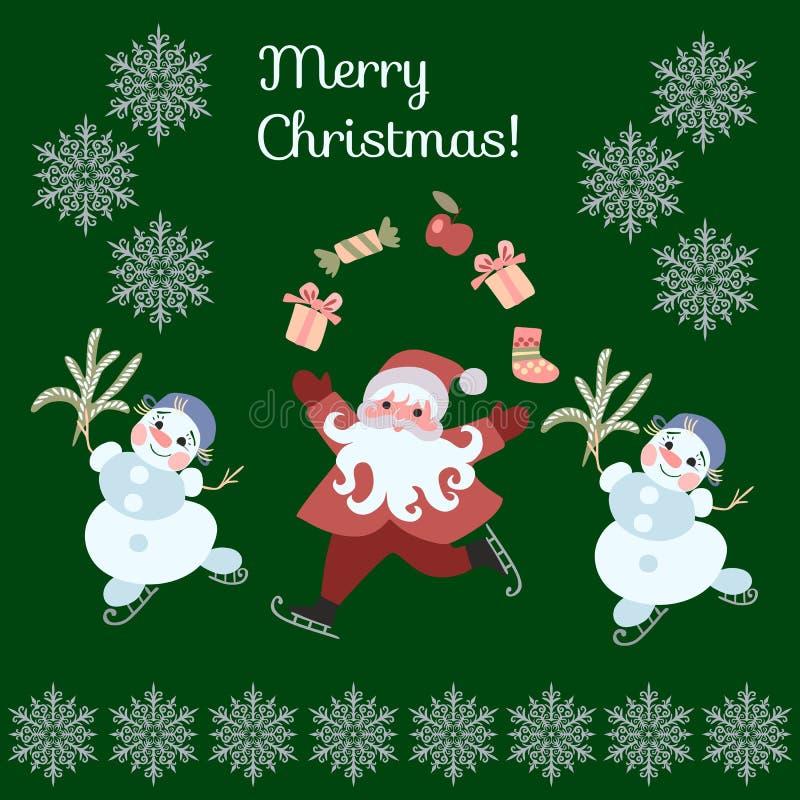 Greeting Card Merry Christmas! Cute cartoon Santa Claus juggling gifts, and dancing snowmen on skates. vector illustration