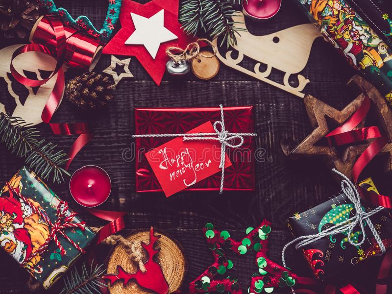 Greeting card. Merry Christmas and Happy New Year royalty free stock photography