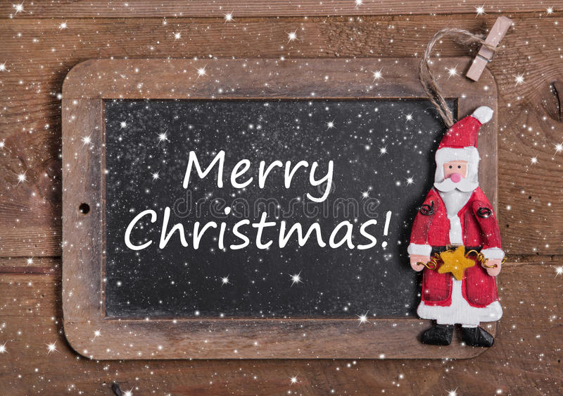 Greeting card with Merry Christmas message , santa and snowflakes stock photography