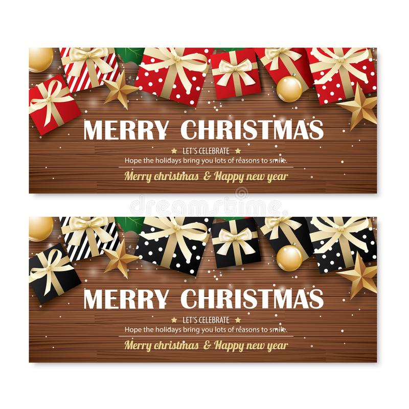 Greeting card merry christmas party poster banner design template on wooden background. Happy holiday and new year with gift box vector illustration