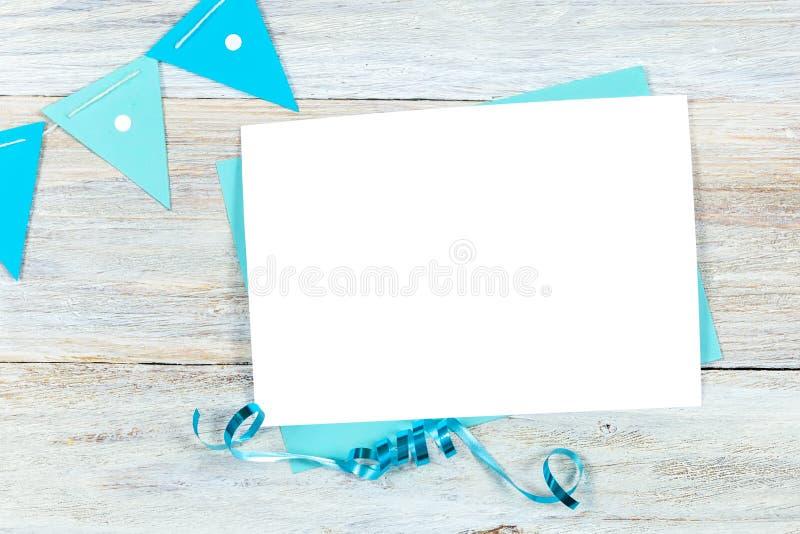Greeting Card Mockup, Birthday or Party Invitation Blank Card royalty free stock photo