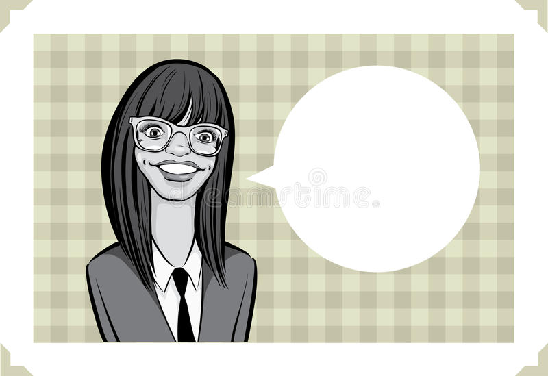 Greeting card with nerd girl - place your custom text. Greeting card - sarcastic meme layered vector illustration. Personalize it with your own humorous message royalty free illustration
