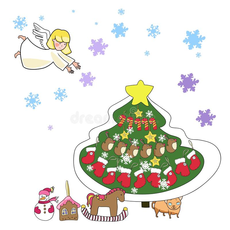 Greeting card, new year and christmas royalty free illustration