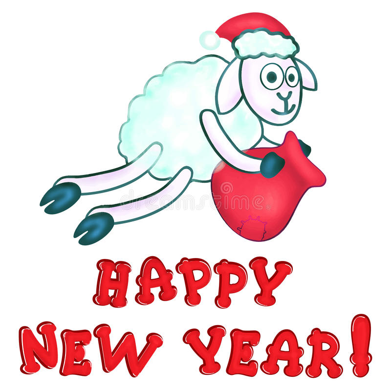 Greeting card with New Year's sheeps royalty free illustration