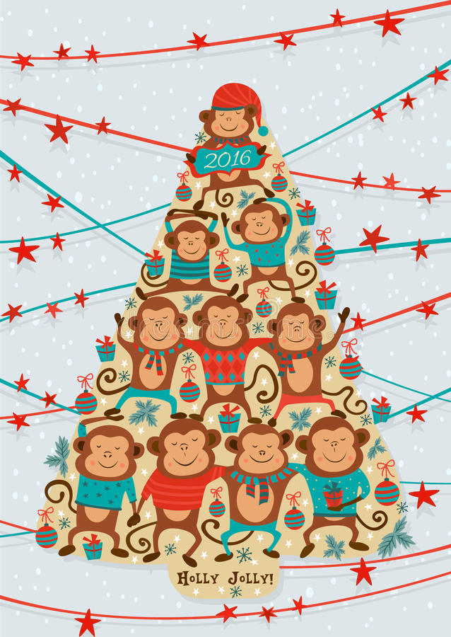 Greeting card with with New Year tree shape with monkeys. Vector vector illustration