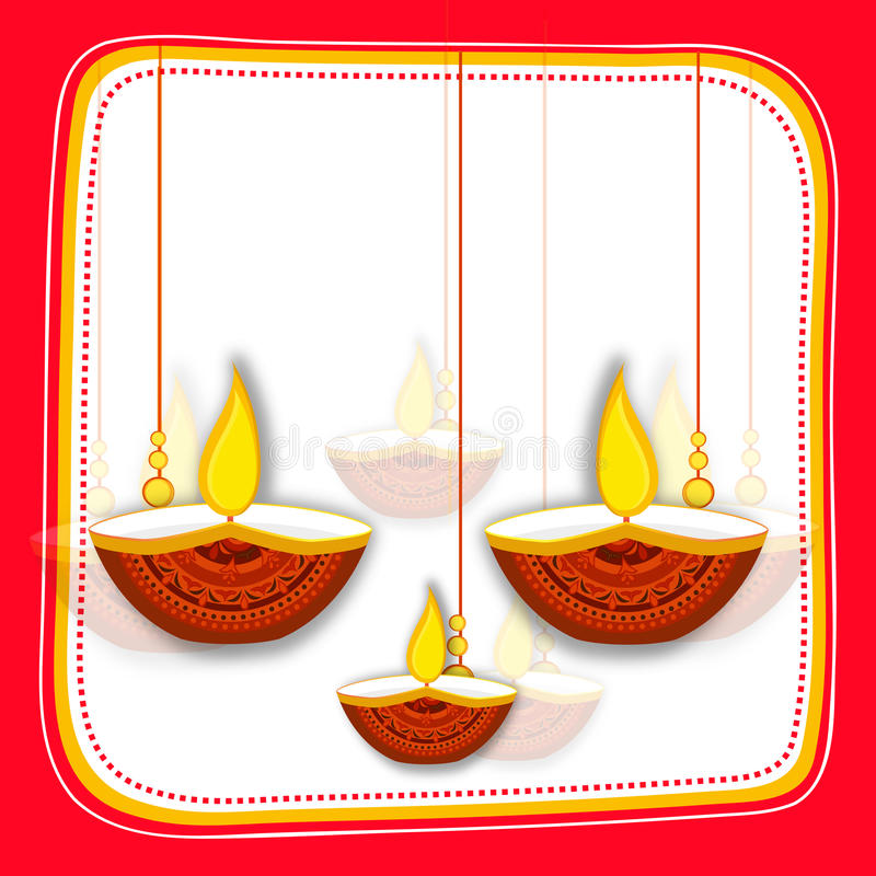 Download Greeting Card With Oil Lamps For Happy Diwali Stock Image