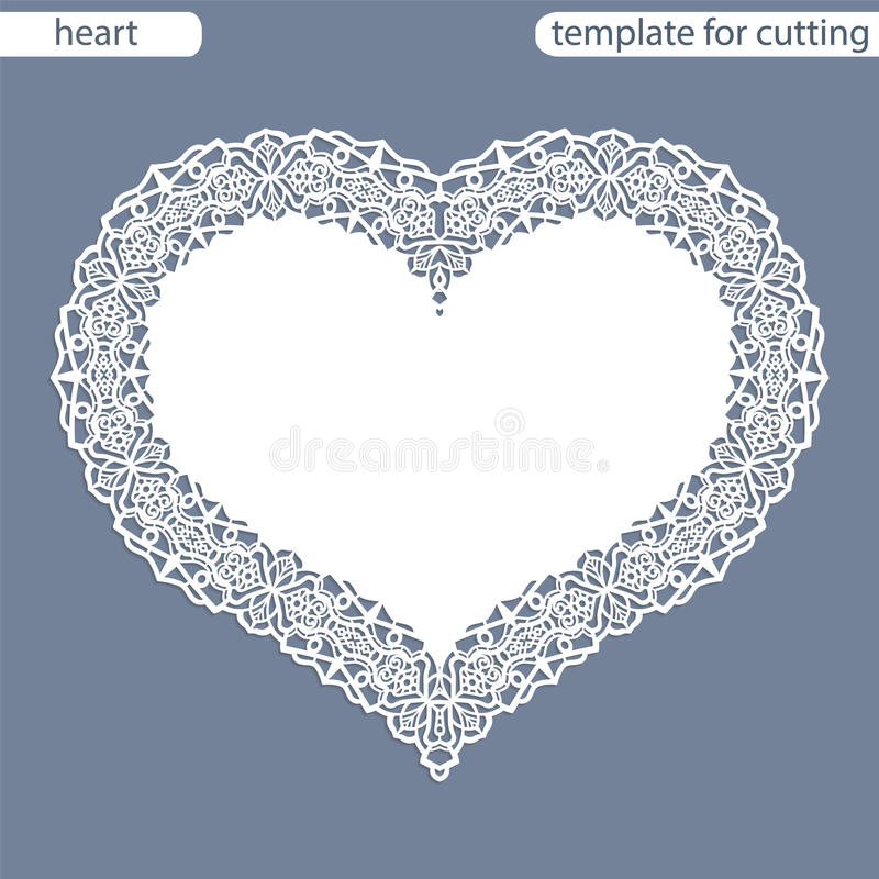 Greeting card with openwork border, paper doily under the cake, template for cutting in the form of heart, valentine card, wedding. Invitation, decorative plate vector illustration