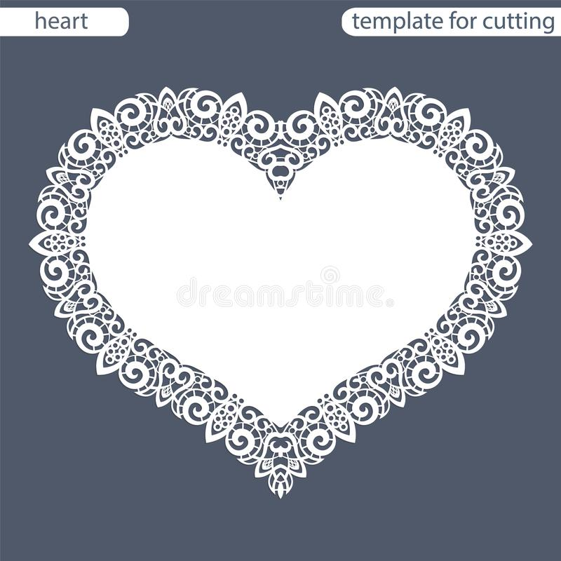 Greeting card with openwork border, paper doily under the cake, template for cutting in the form of heart, valentine card, weddin stock illustration