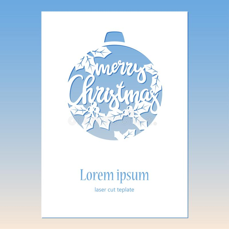 Greeting card with openwork Christmas bauble. Laser Cutting template. royalty free illustration