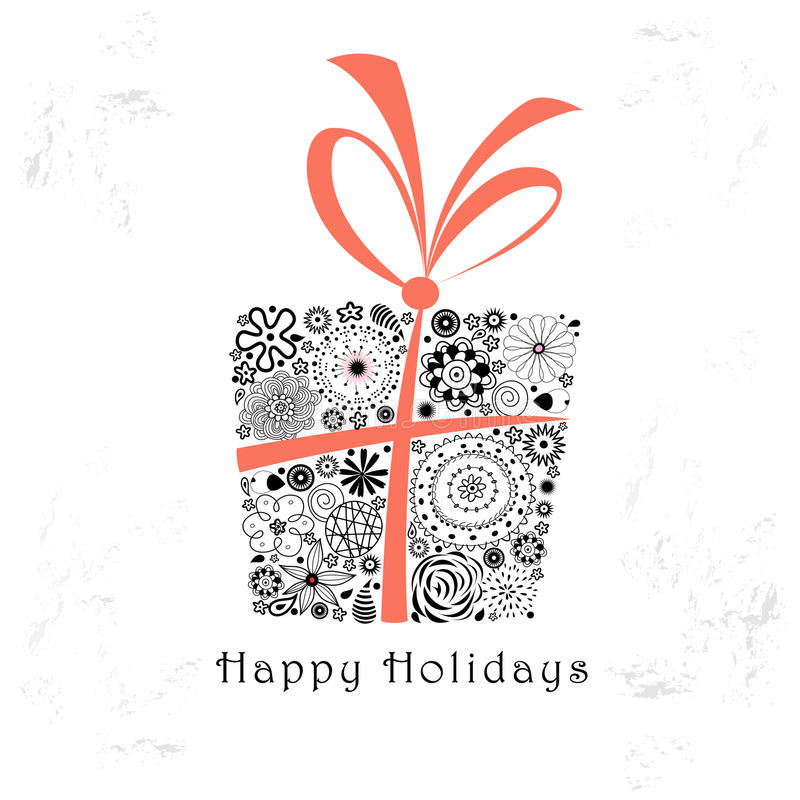 Greeting Card With Ornamental Gift Stock Images