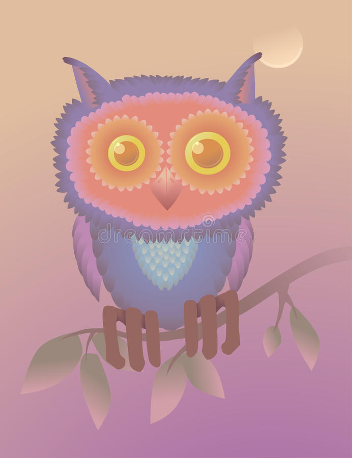 Greeting card with an owl. cartoon character postcard. raster version. Greeting card. valentine card. raster version vector illustration