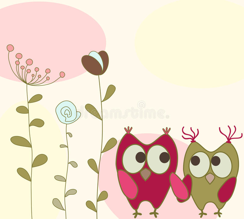 Greeting Card With Owls Stock Photography
