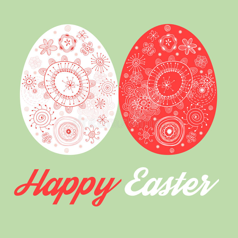 Greeting card with painted Easter eggs vector illustration