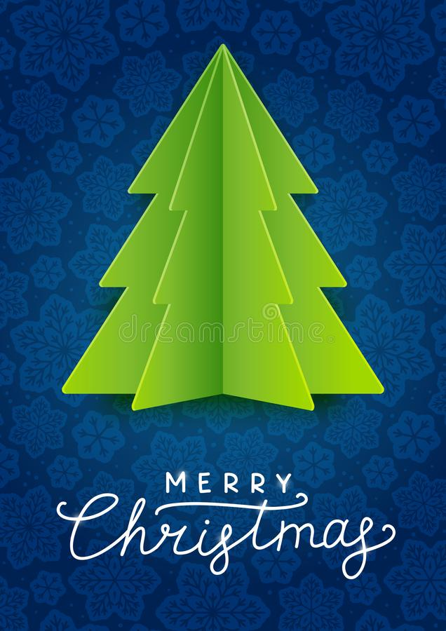 Greeting card with paper Christmas tree vector illustration