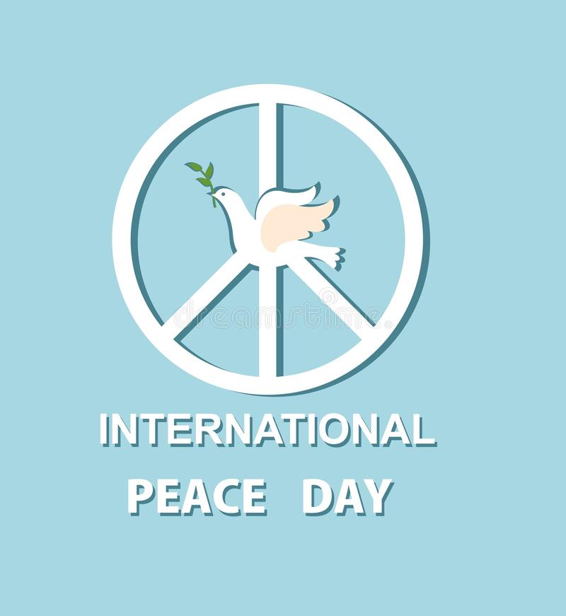 Greeting card with paper dove and peace symbol for International Peace day. Greeting card with paper white dove and peace symbol for International Peace day royalty free illustration