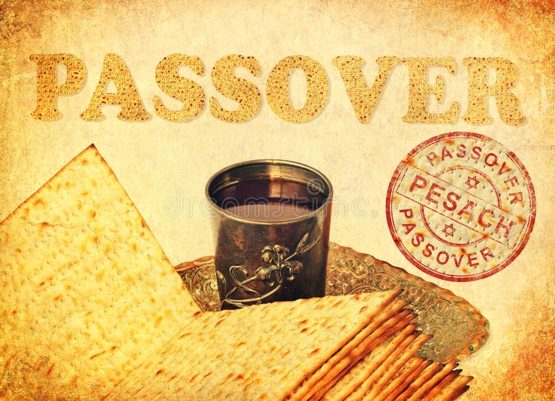 Greeting card with the Passover Pesach - spring Great Jewish Holiday. Passover food symbols of a great Jewish holiday. Pesach traditional matzoh, matzah or matzo royalty free illustration