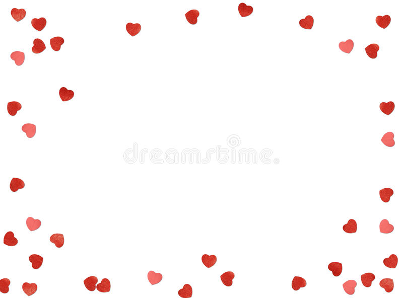 Greeting card or photo frame and valentines day felt toy heart over white background. Valentines Day. royalty free stock photo