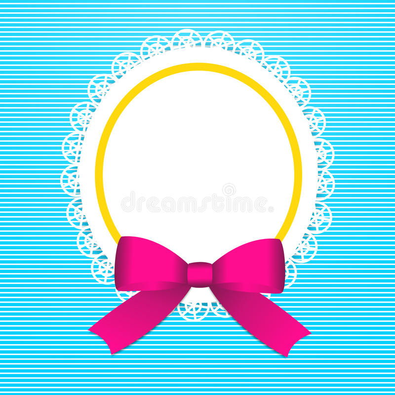 Greeting card with pink bow royalty free illustration