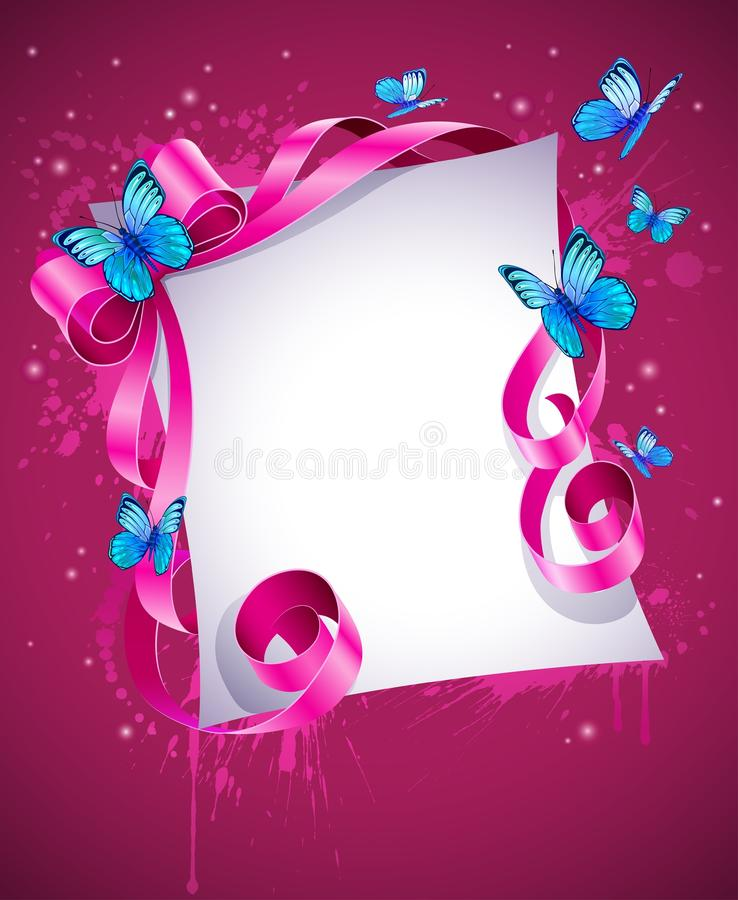 Greeting card with pink bow and blue butterfly stock illustration