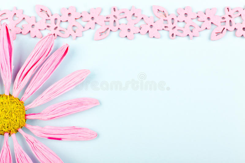 Greeting card with pink flower. A greeting card with pink flower and border stock photo
