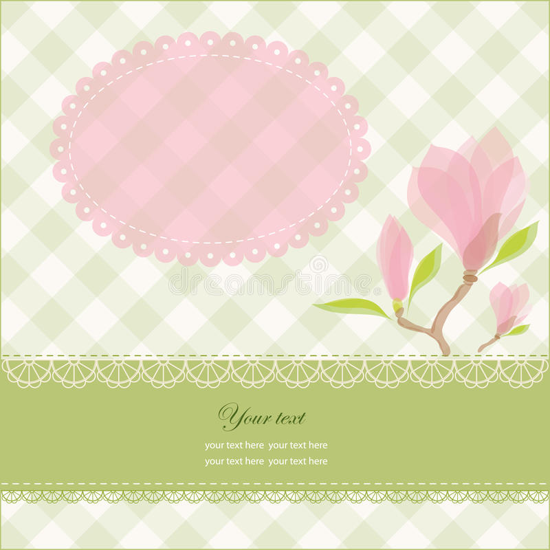 Greeting card with pink magnolia flowers vector illustration