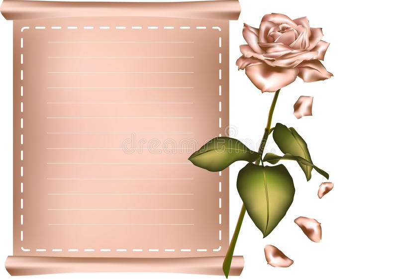 Download Greeting Card With Pink Rose. Stock Vector - Illustration of fragility, decor: 39500928