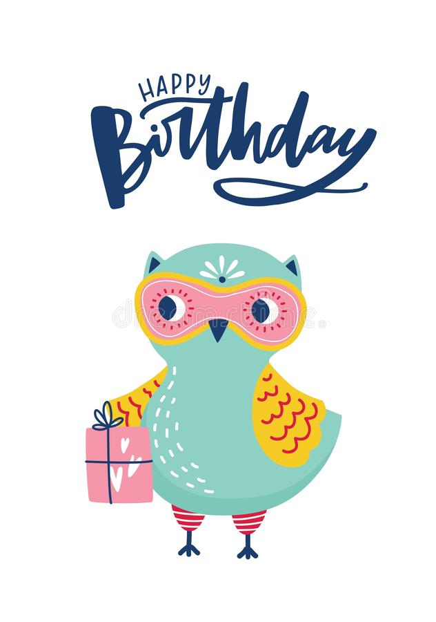 Greeting card or postcard template with adorable owl or owlet and Happy Birthday lettering handwritten with cursive vector illustration