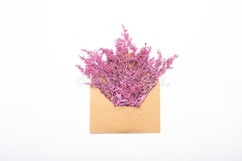 Greeting card poster lilac flowers craft envelope royalty free stock images