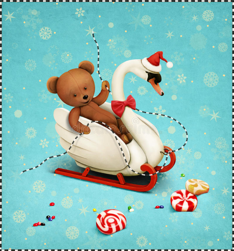 Greeting card or poster Merry Christmas or Happy New Year vector illustration